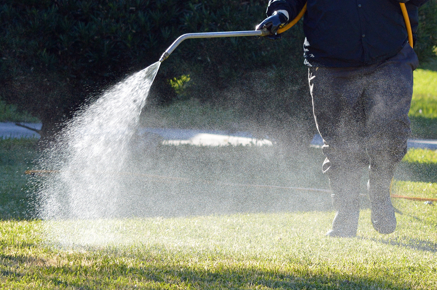 Professional Lawn Care technician spraying fertilizer and weed killer on a Connecticut Lawn.